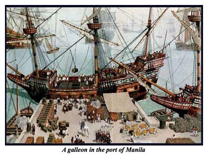 A Spanish galleon in the port of Manila