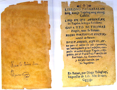 Title page of Tomas Pinpin's book