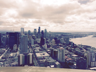 The view of Seattle, Washington from the Space Needle