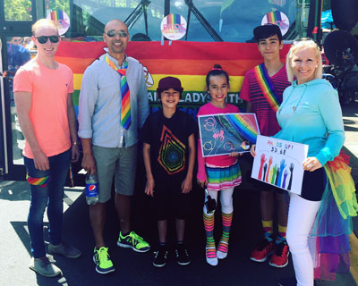 Dale, Elizabeth and the Burgos brood at Nanaimo's inaugural Pride Parade, June12, 2016